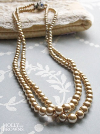 2-Strand Pearl Necklace - Latte