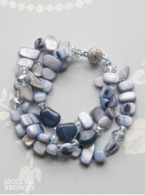 3 Strand Blue Pebble Bracelet