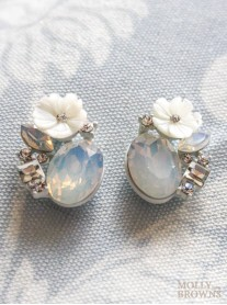 Crystal Flower Earrings - Pale Blue