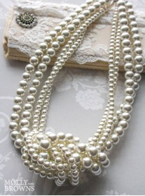 Classic Pearl 4 Strand Knot Necklace (Ivory)