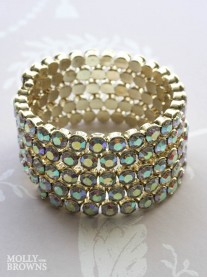 Coiled Gold & AB Crystal Bracelet