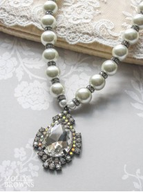 Crystal & Pearl Pendant Statement Necklace
