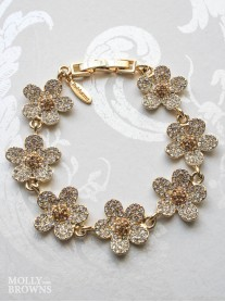 Gold Diamante Flower Bracelet