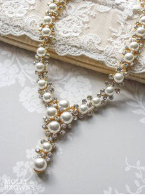 Gold Diamante Pearl Necklace
