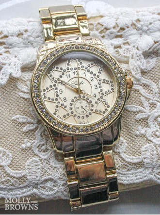 Gold Diamante Round Face Watch