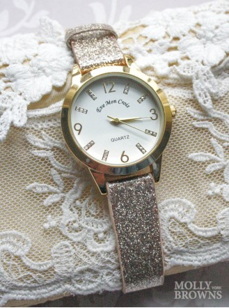 Gold Glitter Round Face Watch