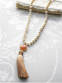 Gold & Pearl Tassel Summer Necklace