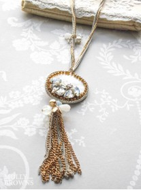 Gold & White Chain Diamante Summer Necklace