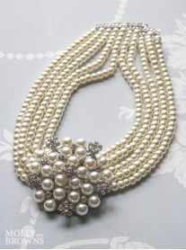 Ivory Pearl Diamante Cluster Necklace