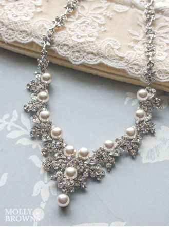 Ivory Pearl Silver Crystal Necklace