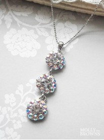 Large Daisy AB Crystal 3 Drop Necklace