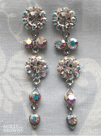 Large Daisy AB Crystal Large Drop Earrings