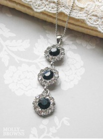 Large Daisy Black Crystal 3 Drop Necklace