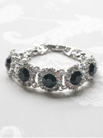 Large Daisy Black Crystal Bracelet