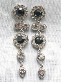 Large Daisy Black Crystal Large Drop Earrings