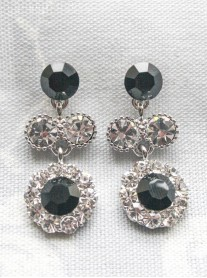 Large Daisy Black Crystal Medium Drop Earrings