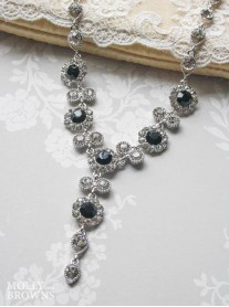 Large Daisy Black Crystal Y Drop Necklace