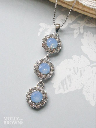 Large Daisy Blue Opal Crystal 3 Drop Necklace