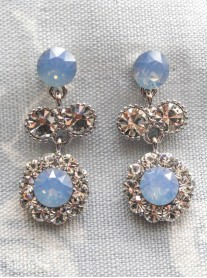 Large Daisy Blue Opal Crystal Medium Drop Earrings