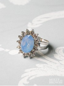 Large Daisy Blue Opal Crystal Ring