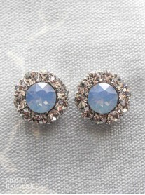 Large Daisy Blue Opal Crystal Stud Earrings