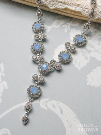 Large Daisy Blue Opal Crystal Y Drop Necklace