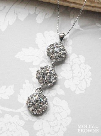Large Daisy Clear Crystal 3 Drop Necklace