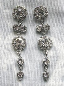 Large Daisy Clear Crystal Large Drop Earrings