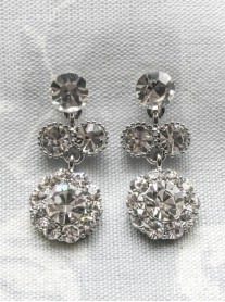 Large Daisy Clear Crystal Medium Drop Earrings