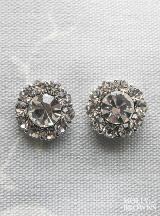 Large Daisy Clear Crystal Stud Earrings