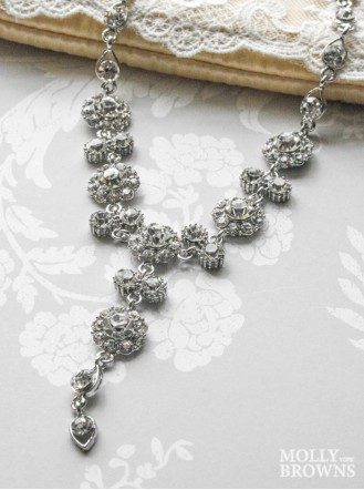 Large Daisy Clear Crystal Y Drop Necklace