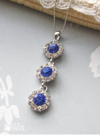 Large Daisy Cobalt Blue Crystal 3 Drop Necklace