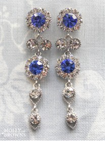 Large Daisy Cobalt Blue Crystal Large Drop Earrings