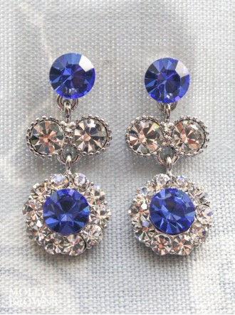 Large Daisy Cobalt Blue Crystal Medium Drop Earrings