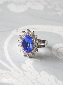 Large Daisy Cobalt Blue Crystal Ring