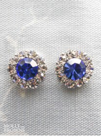 Large Daisy Cobalt Blue Crystal Stud Earrings