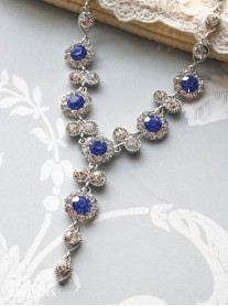 Large Daisy Cobalt Blue Crystal Y Drop Necklace
