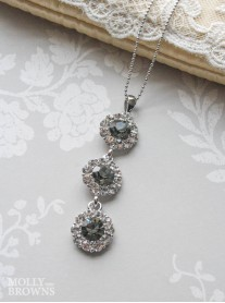 Large Daisy Grey Crystal 3 Drop Necklace