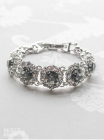 Large Daisy Grey Crystal Bracelet