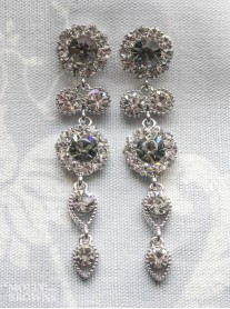 Large Daisy Grey Crystal Large Drop Earrings