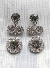Large Daisy Grey Crystal Medium Drop Earrings