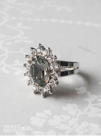 Large Daisy Grey Crystal Ring