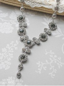 Large Daisy Grey Crystal Y Drop Necklace
