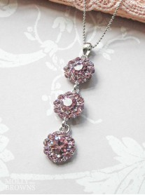 Large Daisy Light Amethyst Crystal 3 Drop Necklace
