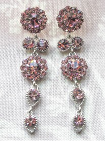 Large Daisy Light Amethyst Crystal Large Drop Earrings