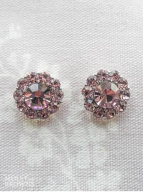 Large Daisy Light Amethyst Crystal Stud Earrings