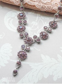 Large Daisy Light Amethyst Crystal Y Drop Necklace