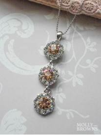 Large Daisy Light Gold Crystal 3 Drop Necklace