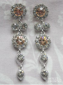 Large Daisy Light Gold Crystal Large Drop Earrings