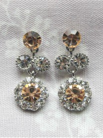 Large Daisy Light Gold Crystal Medium Drop Earrings